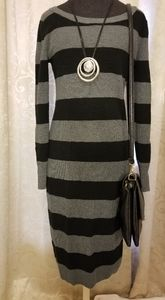 Black and Gray Sweater Dress, Size Large